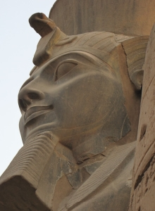 A close-up of the exterior of the magnificent temple at Abu-Simbel in southern Egypt.